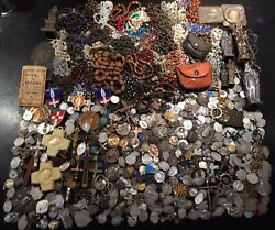 Rare Big Lot Job Chapelets And Médailles Religieuse Rosary Crucifix French Antique