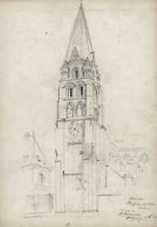 Thomas Henry Watson 1839-1913 Pencil Drawing St Germain Auxerre Architecture
