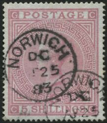 Sg130 5/- Rose Cg Plate 4, Blued Paper Wmk Anchor, 1883 Cds With Cert