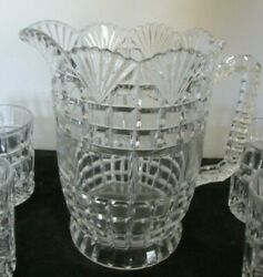 Eapg Us Glass Co Block And Fan Pat Water Pitcher 7 1/2w X 7 3/4h