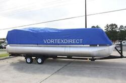 New Vortex Combo Pack Blue 24and039 Ultra Pontoon/deck Boat Cover+dual Support System
