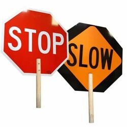 HANDHELD STOP SLOW SIGN PADDLE 18 IN Safety Traffic Octagon Shape Pedestrian