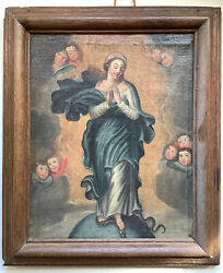 Painting Antique School French Xviie Oil Virgin Marie In Dragon And Angels Frame