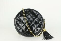 Black Quilted Patent Leather Round Tassel Clutch With Chain 823cas17