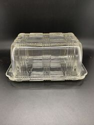 Vintage 1930's Hazel Atlas Criss Cross Clear Glass 1 Pound Covered Butter Dish