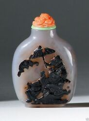 S013 Antique Estate Chinese Well-carved Agate Snuff Bottle 19th Century