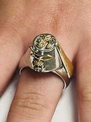 Vintage Lulu Shriners Temple Sterling Silver And 14k Gold 925 Masonic Signet Ring