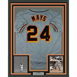 Framed Autographed Signed Willie Mays 33x42 Sf Grey Jersey Say Hey Coa Holo