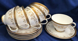 Royal Doulton Belmont Set Of 6 Footed Cups And Saucers Heavy Gold Discontinued Vtg