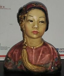 Esther Hunt 1920s Hand Painted Chalkware Bust Of Chinese Woman Plum Blossom