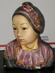Antique Esther Hunt Jonquil 1917 Polychrome Chalkware Bust