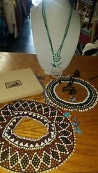 Vintage Native American Beaded Necklaces Collars And Jewelry Box