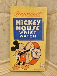 Vintage New Old Stock Ingersoll Mickey Mouse Watch W/original Box Read With Tag