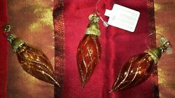 Vtg Clear Colored Glass Gold Amber Swirl Christmas Ornaments Dept 56 Set 3 Nwt