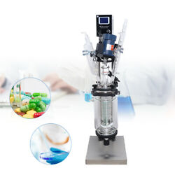 3l Double Jacketed Glass Reactor Lab Chemical Reaction Kettle Digital 680rmp110v