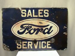 Vintage Ford Porcelain Enamel Sign Board Double Sided Sales And Service Automobil