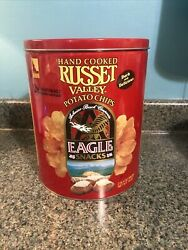 Vintage Russet Valley Eagle Hand Cooked Empty Potato Chip Red Tin Can With Lid