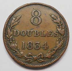 Guernsey 1834 8 Doubles Vf Scarce Key 1st Of Type High Grade British Copper Coin