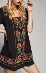 New Free People Casa Azul Rayon Floral Embroidered Black Mini Dress Size S 168