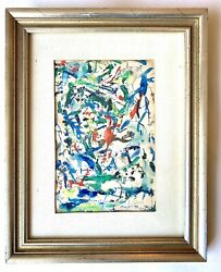 E. Silver Painting Signed Vintage 60s Abstract Expressionism Art Jackson Pollock