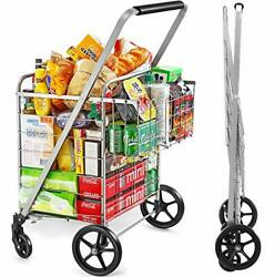 Wellmax Shopping Cart With Wheels, Metal Grocery Cart With Wheels,