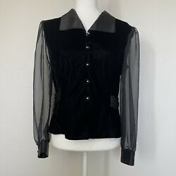 Ramp;K Evening Women#x27;s Size M Black Velvet Button Front Blouse with Sheer Sleeves $24.99