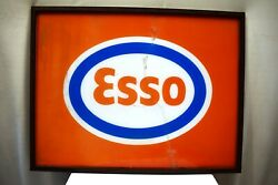 Vintage Esso Sign Gas Station Acrylic Print With Frame Oil Petrol Collectibles