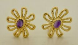 Vintage And Co. Paloma Picasso Daisy Amethyst Yellow Gold Clip Earrings