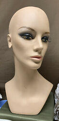 Vintage 16andrdquo Store Mannequin Head Advertising Wig Hat Display With Eyelashes 1
