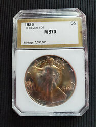 1986 Ase Silver Dollar Coin Awesome Gold Toning Top Grade- 🔥🔥