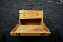 Vintage Wooden Tool Cabinet / Chest Drop Front And 3 Drawers Portable Storage