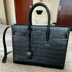 Ysl Classic Sac De Jour Large In Crocodile Embossed Matte Leather
