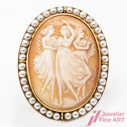 Brooch Needle Cameo 750/18k Yellow Gold Shell Gem Oval Orient Pearls Handmade