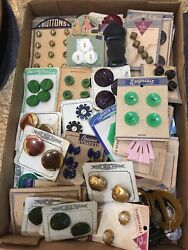 1940's Vintage Buttons Lot Of 69 Card Sets New Old Stock Buckles, Glass, Mix Lot