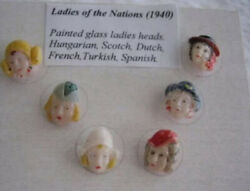 Rare Vintage Antique Glass Head Buttons Ladies Of The Nations Excelent Condition