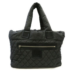 A48611 Cococo Tote Mm Bag Denim Quilting Women And039s Secondhand Used _4064