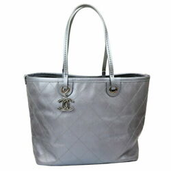 Tote Bag Gray Silver Fittings Women 's Secondhand _4237