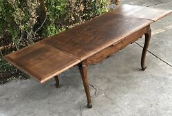 Antique French Louis Xv Parquet Top Draw Leaf Carved Oak Dining Table C.1875
