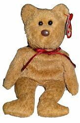 Ty Beanie Babies Curly The Bear Plush -nice Coffee Brown Soft And Cuddley