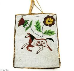 Antique Plateau Indian Pictorial Horse Bag - Native American Beaded Hide Art