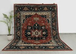 8x10 Mahal Red Navy Vintage Finish Design Rug Classic Design Hand Knotted Ps-5