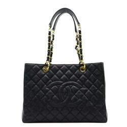 Gst Chain Shoulder Tote Bag Women And039s Caviar Skin Black Secondhand _6817