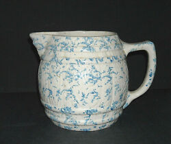 Early Blue And White Embossed Spongeware Pitcher - Stoneware