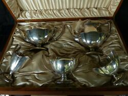 Antique Gorham Sterling Silver 5 Pc Plymouth Coffee And Tea Set Wood Storage 1911