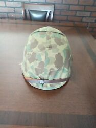 Wwii Usmc M1 Helmet With Green Buckle Chinstrap