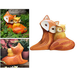 Resin Owl And Fox Statue For Housewarming Gifts Patio Yard Outdoor Ornaments