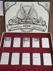 Harley-davidson Zippo Decades Lighter Collection - Beautiful Chrome Set Of 10