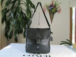 New Coach Menand039s Varick Perforated Nylon And Leather Map Bag F71552 Black