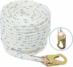 5/8and039 100ft Fall Protection Vertical Lifeline Rope With Back Splice And Snap Hook