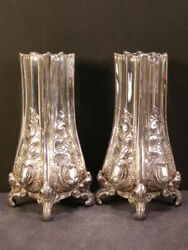 Antique Pr Matching Repousse Chase Silver Embossed Relief Flower Bud Spill Vases